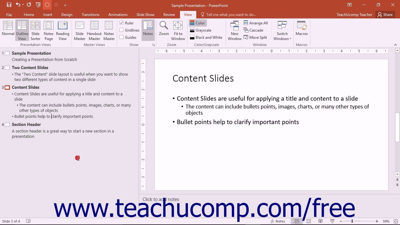 powerpoint 2016 tutorial outline view microsoft training