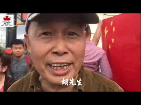 温哥华街头游行抗议大PK:中国留学生大喊:妈妈叫你回家吃饭;香港人士踩场大陆游行者这一边