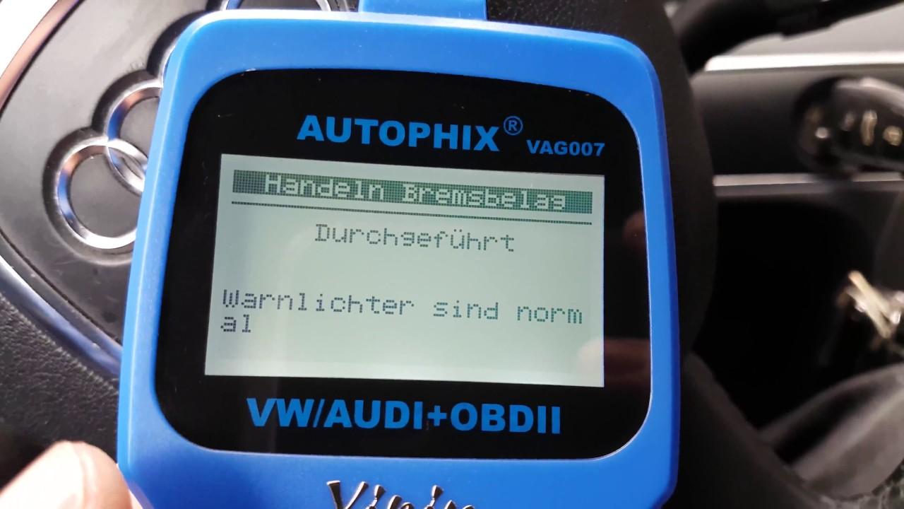 autophix vag007 obd2 diagnosegerät / elektrische parkbremse lösen