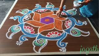 simple & easy sivarathiri peacock rangoli design with 7*4 dots made easy to draw for every one