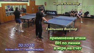 настольный теннис - эффективность атаки BH по линии Чирков А. - Товпышко В.  30.10.16