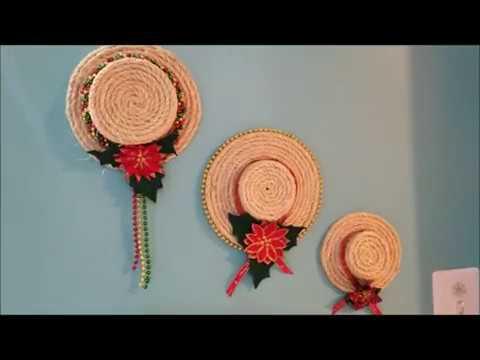 Decoraciones navideñas: sombreros hechos de cuerda para colgar en pared