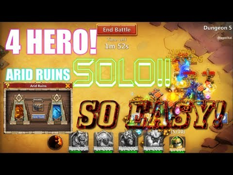 4 HERO SOLO NEW GAMEMODE ARID RUINS SO EASY? Castle Clash