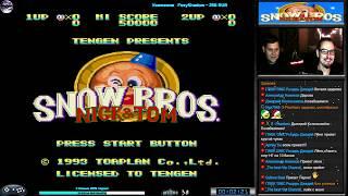 Snow Bros прохождение Co-op Dezgun [ hard ] (J) Игра (SEGA Genesis, Mega Drive SMD) 1993 Стрим RUS