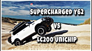 Supercharged Y62 VS Unichip LC200 - DRAG RACE!