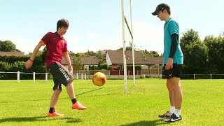 playing football with fans crossbar challenge
