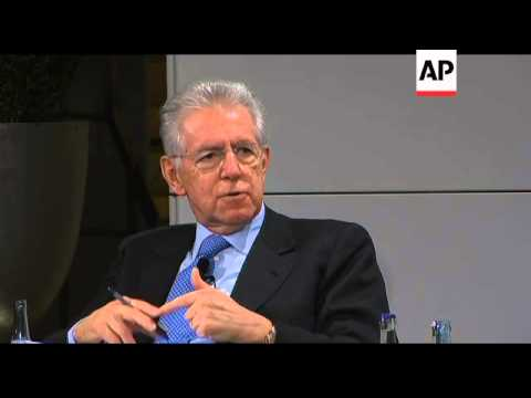 Italian Premier Monti and Deutsche Bank chief comment on eurozone crisis