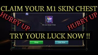 Claim your mlbb world championship skin chest || m1 skin chest || try your luck now