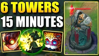 6 TOWERS IN 15 MINUTES!? ZIGGS + HEIMERDINGER BOT LANE NEW BOOSTING STRATEGY! ft. Anklespankin