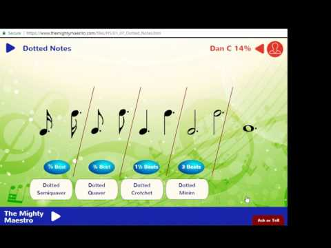 1.7 Dotted Notes - Dotted Crotchet, Quaver, Minim and Semibreve - The Mighty Maestro Help Vids