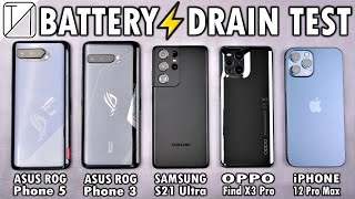 Asus ROG Phone 5 vs ROG 3 / S21 Ultra / OPPO Find X3 Pro / iPhone 12 Pro Max Battery Life DRAIN Test