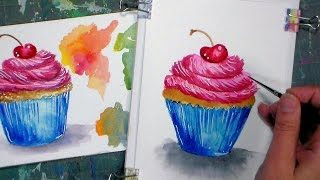 Learn to draw and paint a cupcake in watercolor & watercolor pencil!