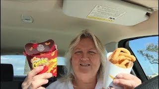 Burger King !! Eating in my car .. Trying the Hot Mac Cheetos!