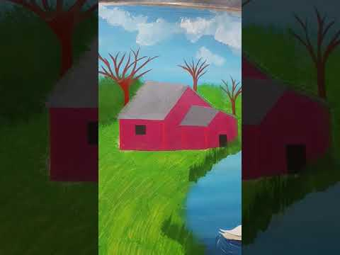 acrylic landscape painting lesson for beginners,beautiful river side scenery…#youtubeshorts
