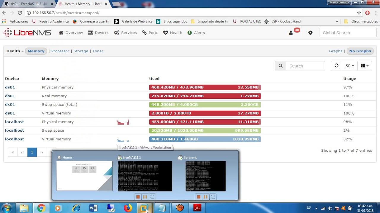 Monitoreo SNMP FreeNAS desde librenms