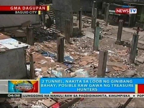 2 tunnel na gawa raw ng treasure hunters, nakita sa loob ng ginibang bahay sa Baguio City