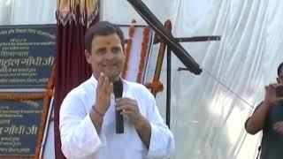 Congress President Rahul Gandhi addresses a gathering in Jais, Amethi