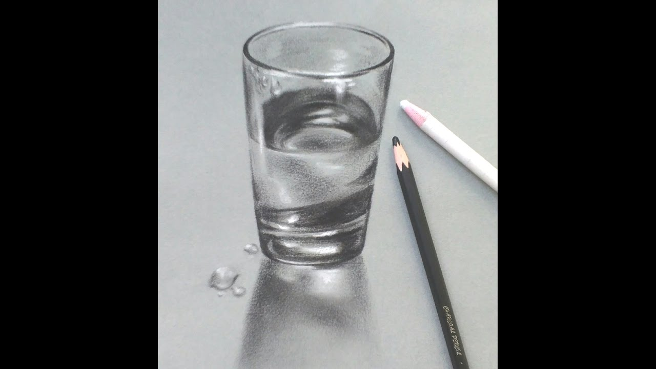 How to draw a realistic glass of water very easily pencil sketch tutorial 02