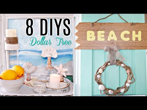 8 DIY DOLLAR TREE COASTAL BEACH DECOR CRAFTS