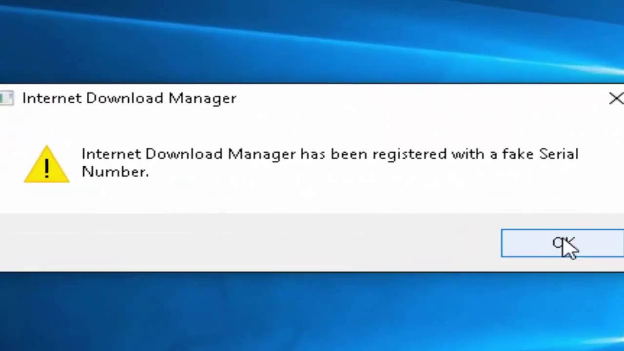 disable internet download manager has been registered with a fake serial number