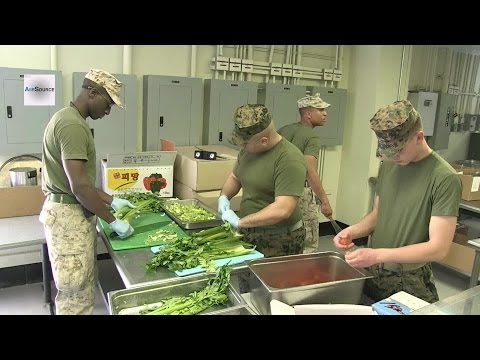 US Marine Chefs. Chow Hall Preparation.