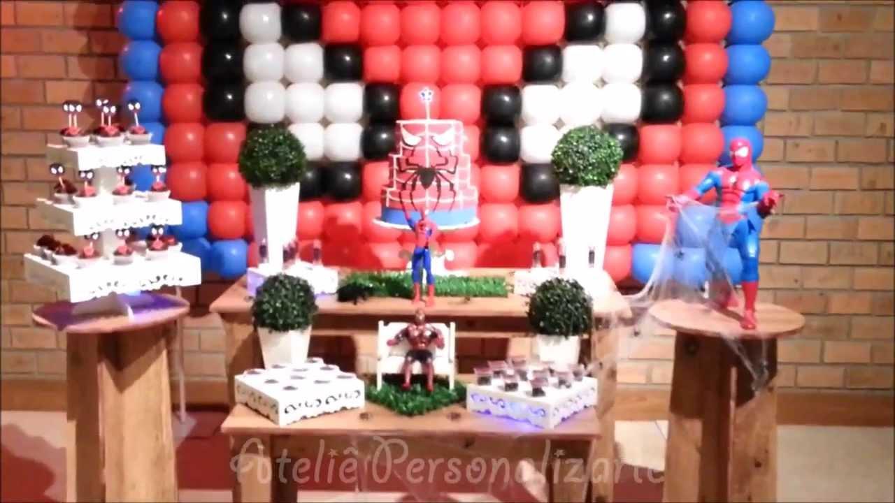Decoração Youtube ~ Decoraç u00e3o de festa infantil Homem Aranha YouTube