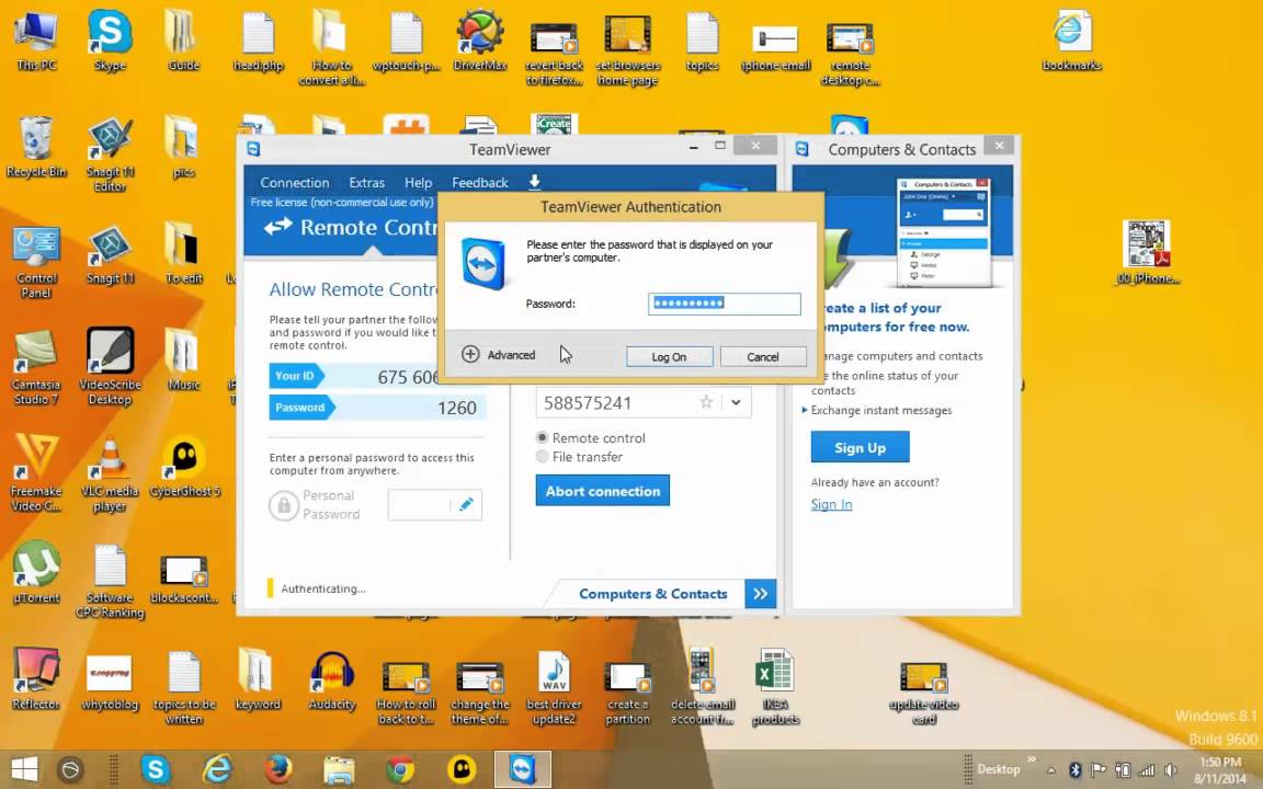Clear Team viewer user id and password for unauthorized access