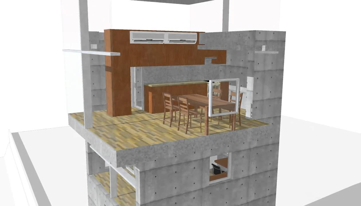Skecthup model 4 x 4 tadao ando youtube for Modele maison sketchup