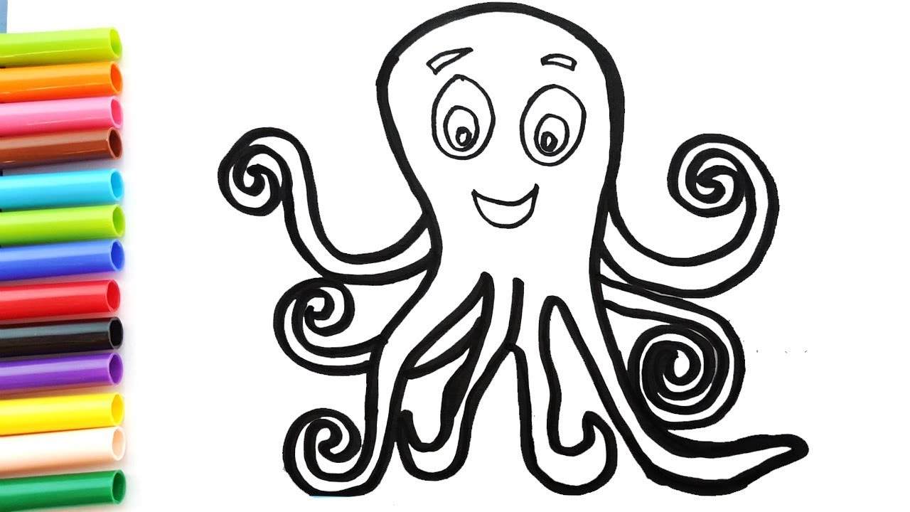 How To Draw So Cute Octopus Art Colours For Children Rainbow