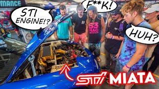 homepage tile video photo for Hilarious Reactions To My AWD STI Swapped MIATA! (Hidden Camera)