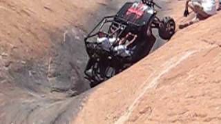 Some Dude on Hells Revenge Escalator Moab Utah Polaris RZR 2009 UTV Rally