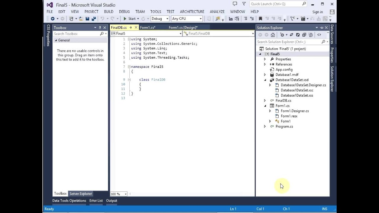 Creating a Windows Database Application in Visual Studio 2013 with C#