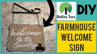 Farmhouse Welcome sign DIY~Dollar Tree farmhouse DIY.