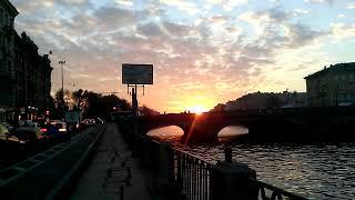 Saint Petersburg Fontanka river for cruiser and people walking