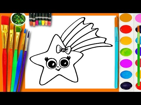 Thumbnail: Learn to Draw and Coloring for Kids and Paint a Star Coloring Book Page to Color with Watercolor