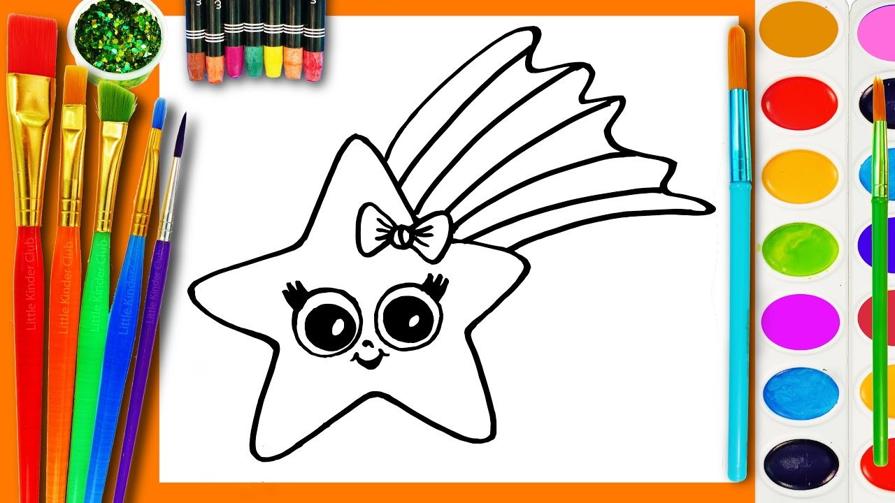 Learn to draw and coloring for kids and paint a star for Learning to paint and draw