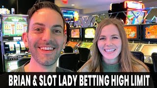 😱 FINALLY!  👫 Brian & SLOT LADY Together Betting HIGH LIMIT!