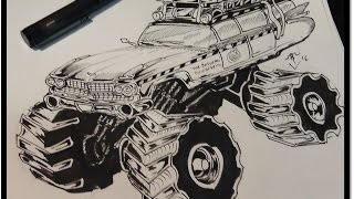 how to draw ghost busters monster truck