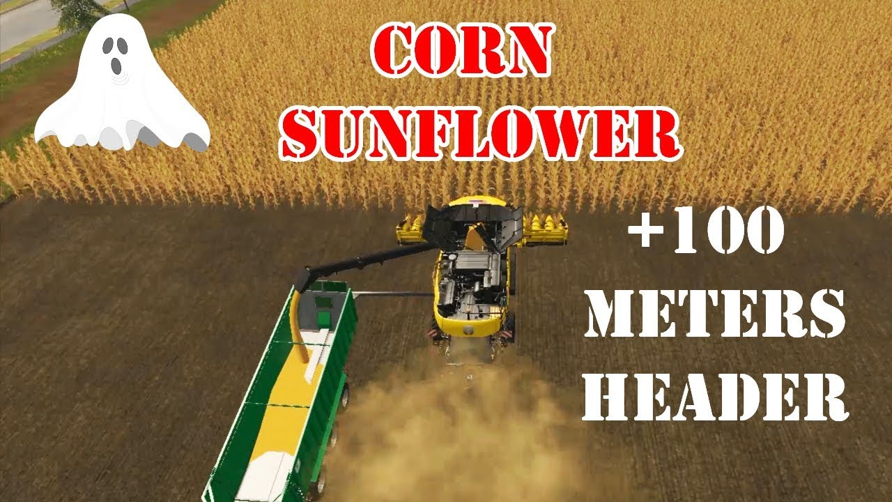 Farming Simulator 17 | GHOST CORN AND SUNFLOWER HEADER MOD, 100 METERS  &VERY VERY LONG CUTTER,
