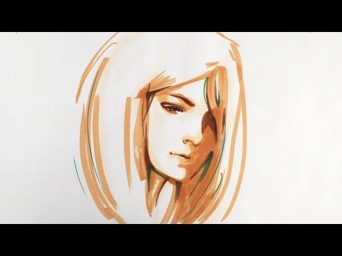 Porträt zeichnen lernen – kreative Technik mit Markern – Mappenkurs Kunst, Mappenkurs Modedesign