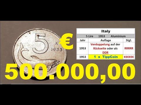 Italien / Italy 5 Lire 1953 ---500.000,00 €---