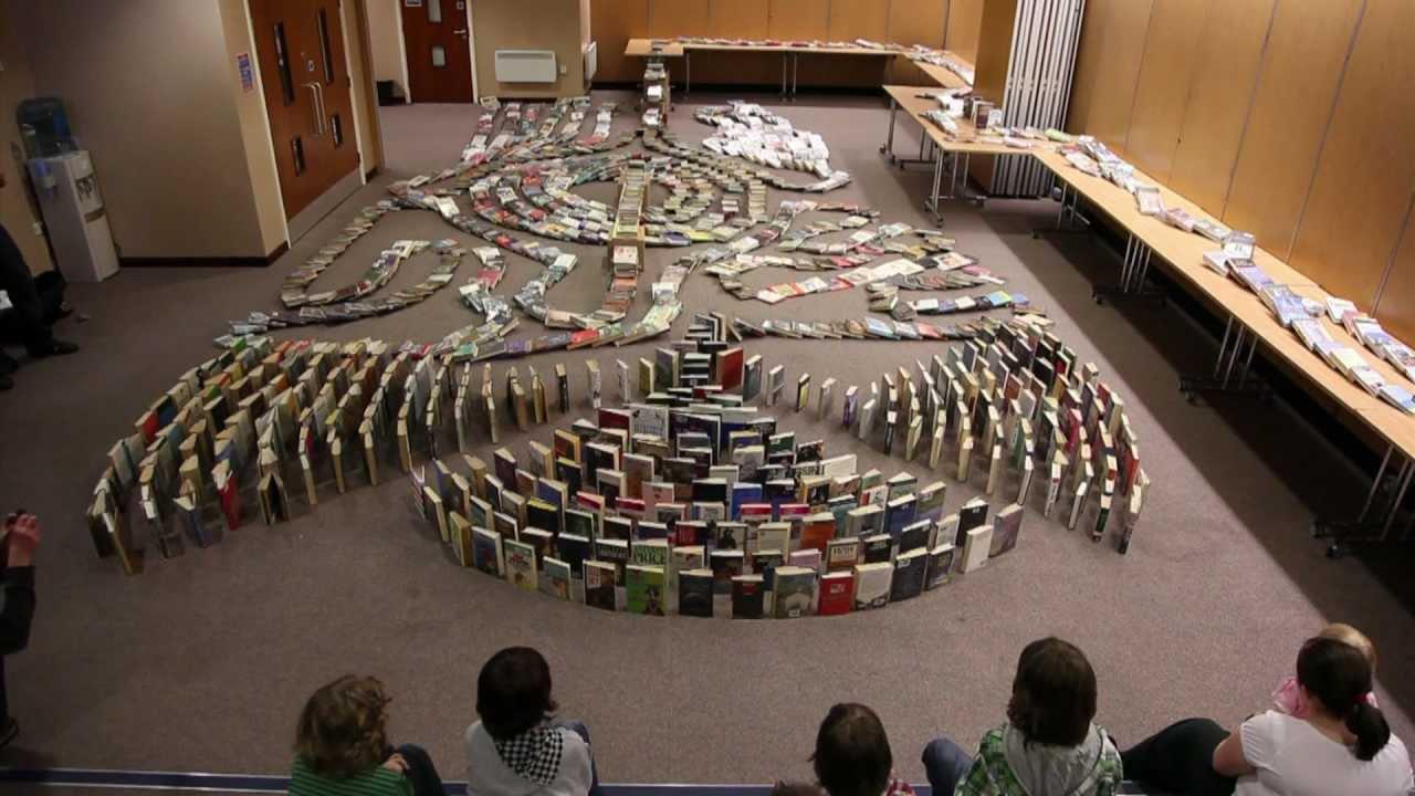 world record attempt book domino chain reaction