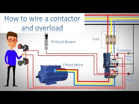 how to wire a contactor and overload | direct online starter by  earthbondhon - youtube