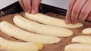 Mettez 10 moitiés de bananes sur le gâteau. Ça en jette !