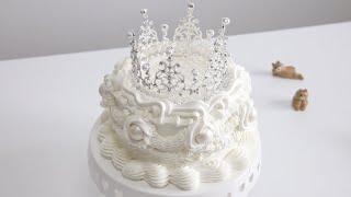 화려한 티아라 케이크 만들기 Crown Cake Rec…