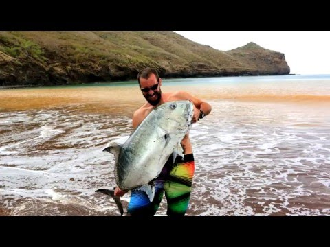 Big GT shore landed on light spinning tackle - EIAO island, Marquesas Islands