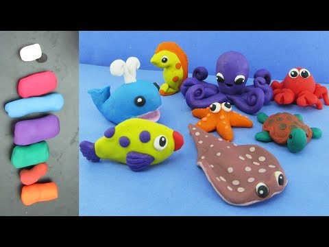 How To Make Clay Sea Animals + Learning The Names Of Sea Animals | Clay Modeling Projects