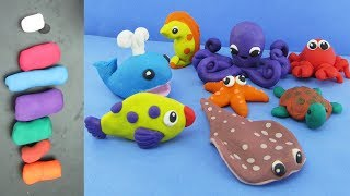 How To Make Clay Sea Animals + Learning The Names Of Sea Animals | Clay Modeling Projects 2