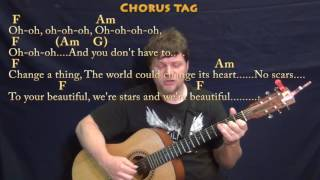 Scars to Your Beautiful (Alessia Cara) Fingerstyle Guitar Cover Lesson with Chords/Lyrics