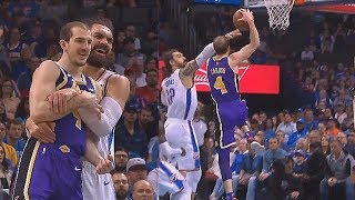 Steven Adams Embarrasses Alex Caruso By Picking Him Up Like A Baby Then Caruso Wanna Destroy Him!